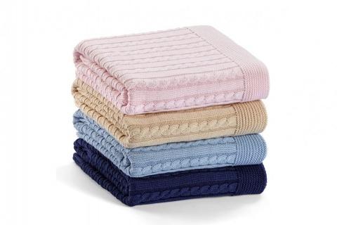 Pătura pentru copii din bumbac ELIE roz 90x90 cm